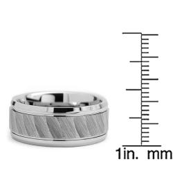 Tungsten Carbide Men's Chiseled Center Ring (9 mm) - Thumbnail 2