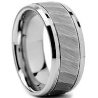 Tungsten Carbide Men's Chiseled Center Ring (9 mm)