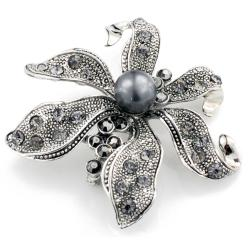 Silvertone Austrian Crystal and Faux Pearl Black Flower Pin - Thumbnail 1
