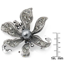 Silvertone Austrian Crystal and Faux Pearl Black Flower Pin - Thumbnail 2