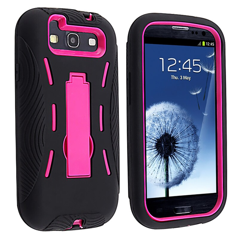 INSTEN Pink Hard Plastic/ Black Skin Hybrid Phone Case Cover with Stand for Samsung Galaxy S III
