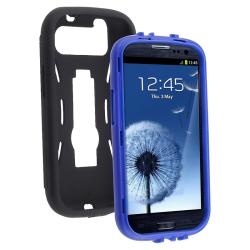 INSTEN Blue Hard Plastic/ Black Skin Hybrid Phone Case Cover with Stand for Samsung Galaxy S III