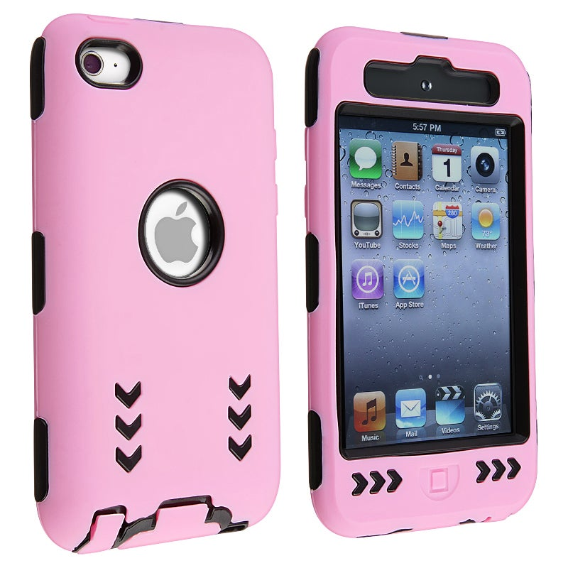 Black/ Pink Hybrid Case with Stand for Apple iPod Touch Generation 4