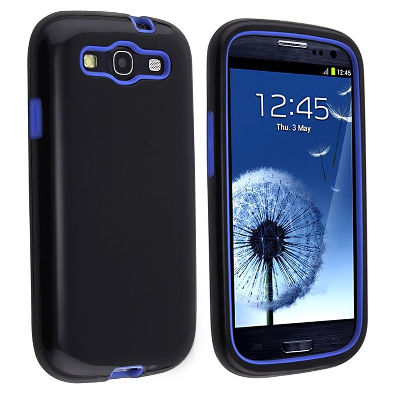 Blue Skin/ Black Hard Hybrid Case for Samsung Galaxy S III