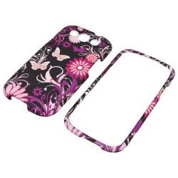 INSTEN Pink Butterfly Snap-on Rubber Coated Phone Case Cover for Samsung Galaxy S III - Thumbnail 1