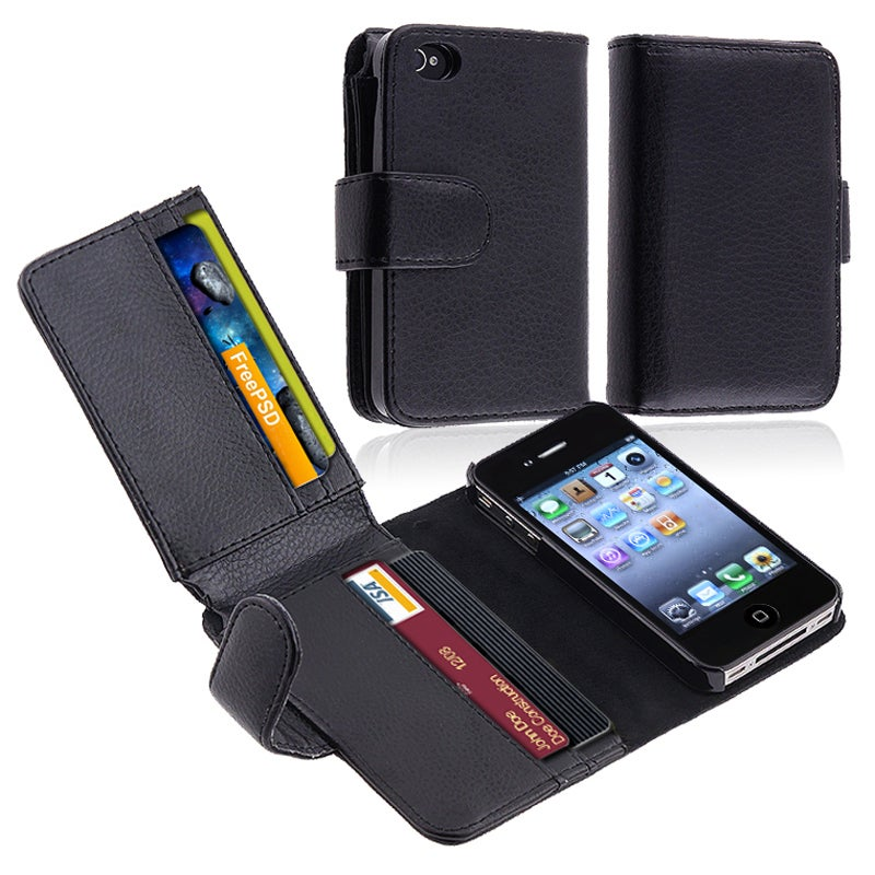 INSTEN Black Leather Phone Case Cover with Wallet for Apple iPhone 4/ 4S - Thumbnail 0