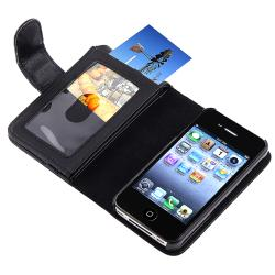 INSTEN Black Leather Phone Case Cover with Wallet for Apple iPhone 4/ 4S - Thumbnail 2
