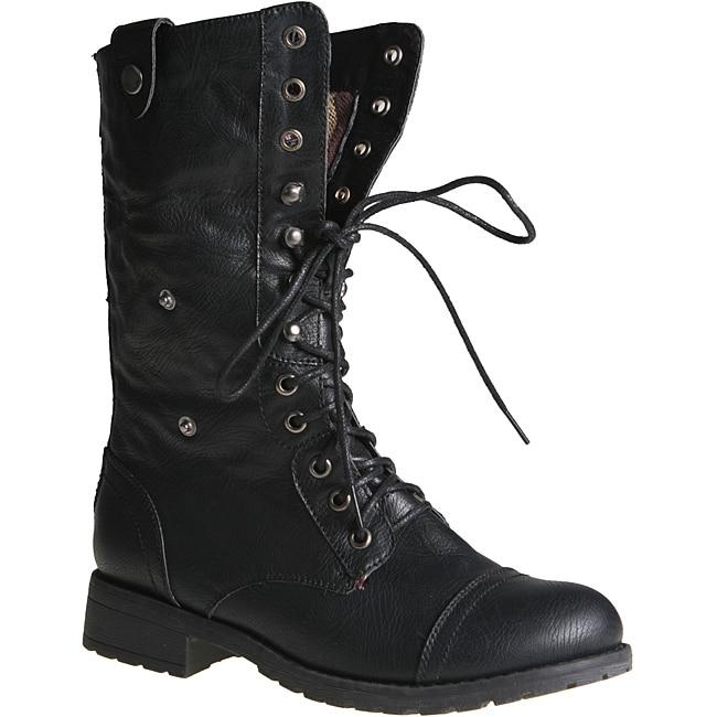 Sweet Beauty Women's 'Terra-06' Black Combat Boots
