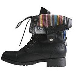 Sweet Beauty Women's 'Terra-06' Black Combat Boots - Thumbnail 1
