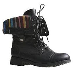 Sweet Beauty Women's 'Terra-06' Black Combat Boots - Thumbnail 2
