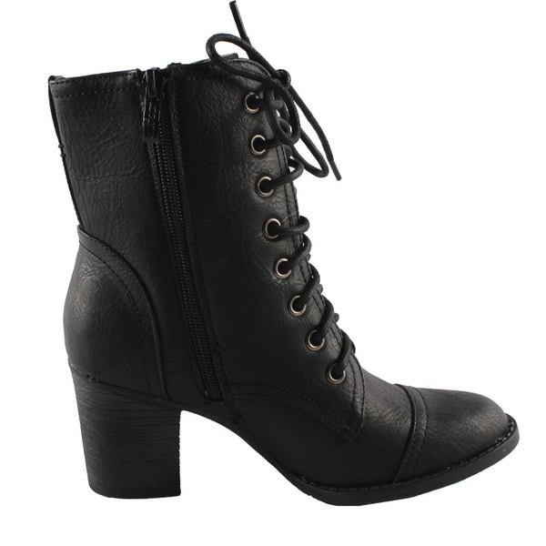 Black Lace-up Boots - Overstock - 6983424