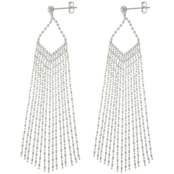 Sterling Silver Chic Chain Fringe Dangle Earrings