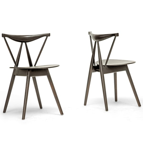 Mercer Brown Wood Modern Dining Chairs (Set of 2)