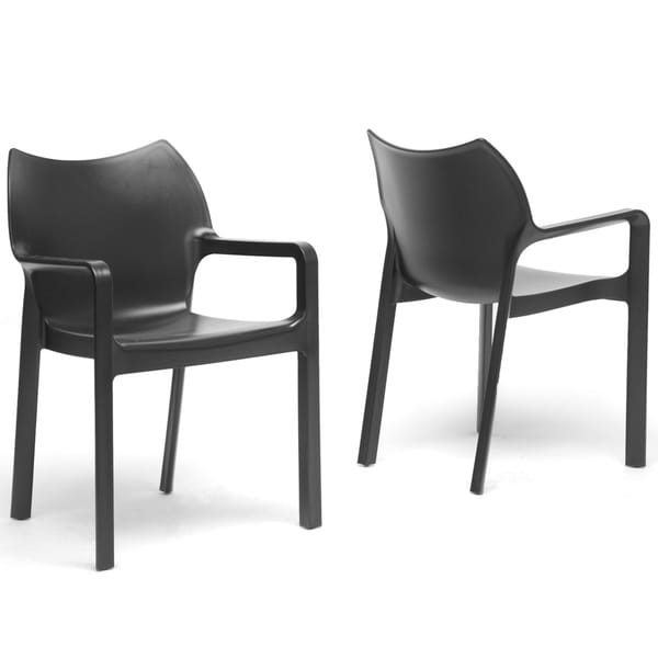Limerick black plastic stackable modern dining chairs set for Black plastic dining chairs