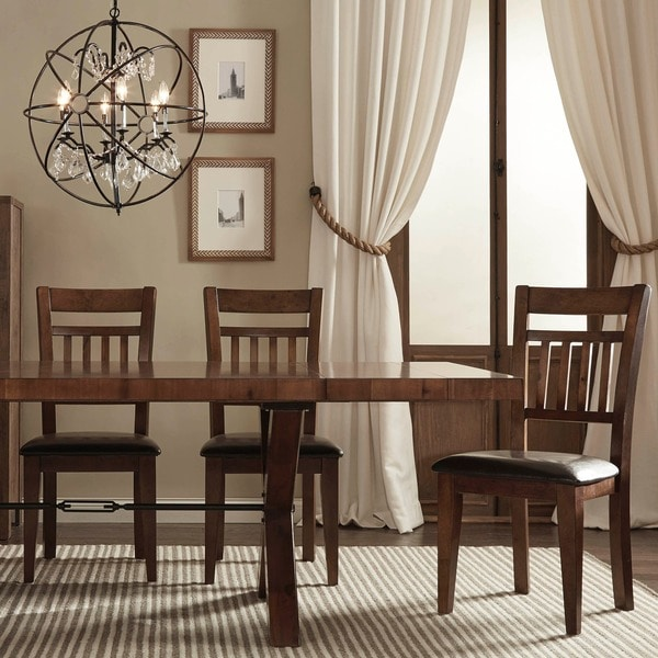 TRIBECCA HOME Inverness Warm Oak Cushioned Mission Dining Chair (Set of 2)