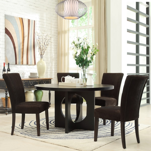 Westmont 5-piece Chocolate Corduroy 54-inch Round Dining Set