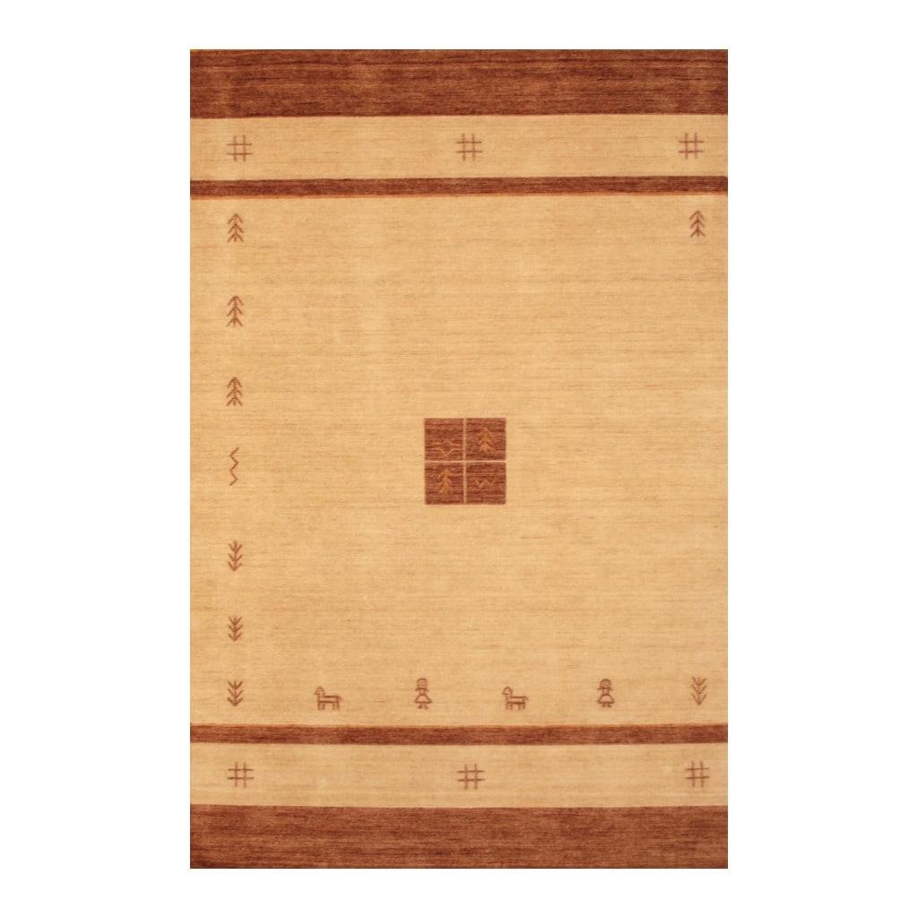 Indo Hand-loomed Beige/ Brown Gabbeh Wool Rug (6' x 9')
