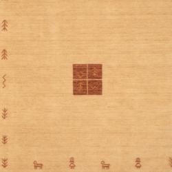Indo Hand-loomed Beige/ Brown Gabbeh Wool Rug (6' x 9') - Thumbnail 1