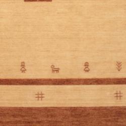 Indo Hand-loomed Beige/ Brown Gabbeh Wool Rug (6' x 9') - Thumbnail 2