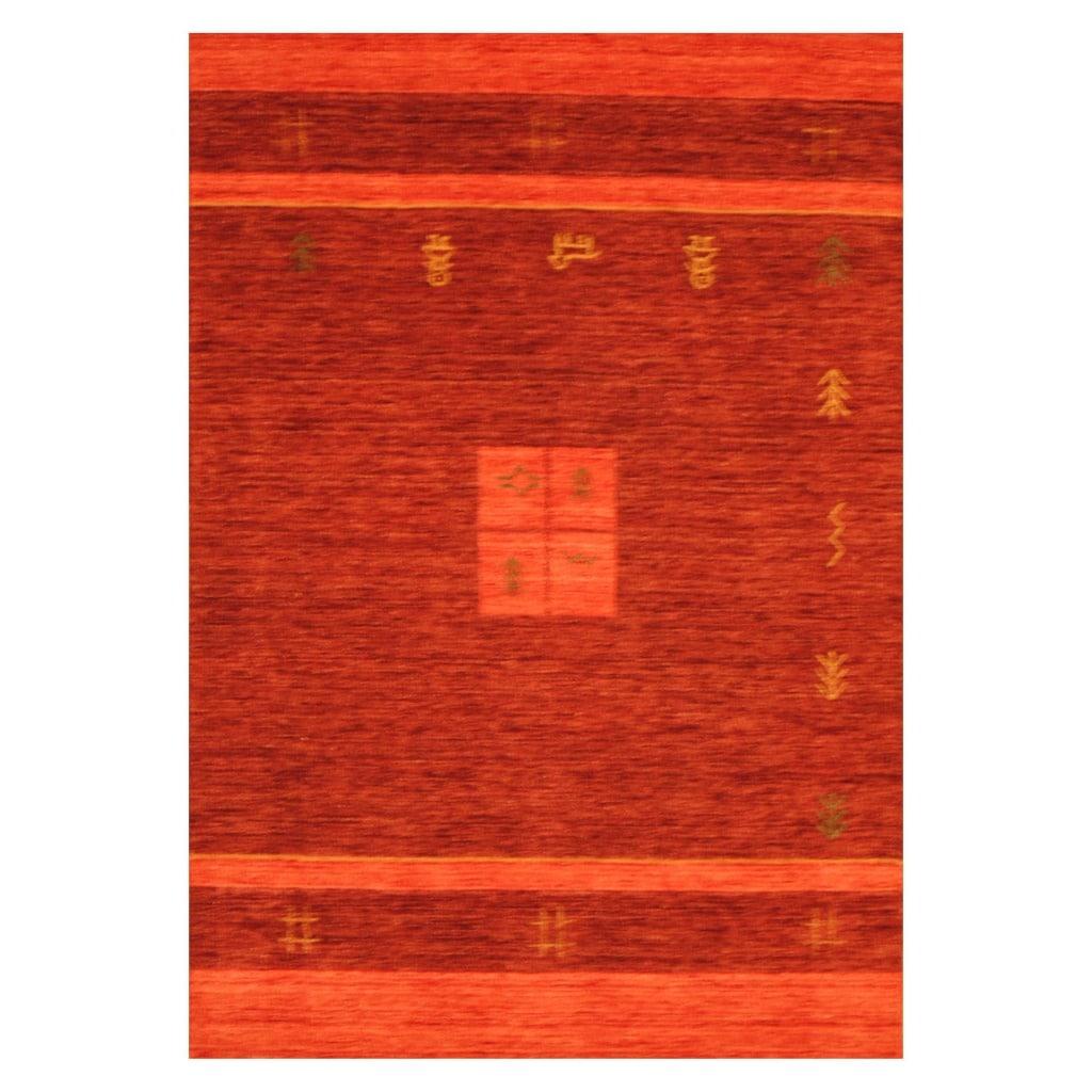 Indo Hand-loomed Burgundy/ Red Gabbeh Wool Rug (8' x 10')