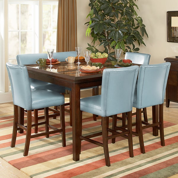 Estonia 7-piece Counter Height Set with Sky Blue Chairs