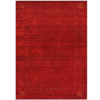 Herat Oriental Indo Hand-loomed Red/ Green Gabbeh Wool Rug (4' x 6')