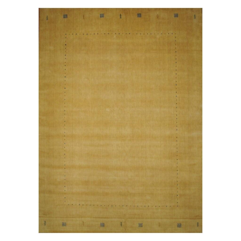 Indo Hand-loomed Ivory/ Blue Gabbeh Wool Rug (9' x 12')