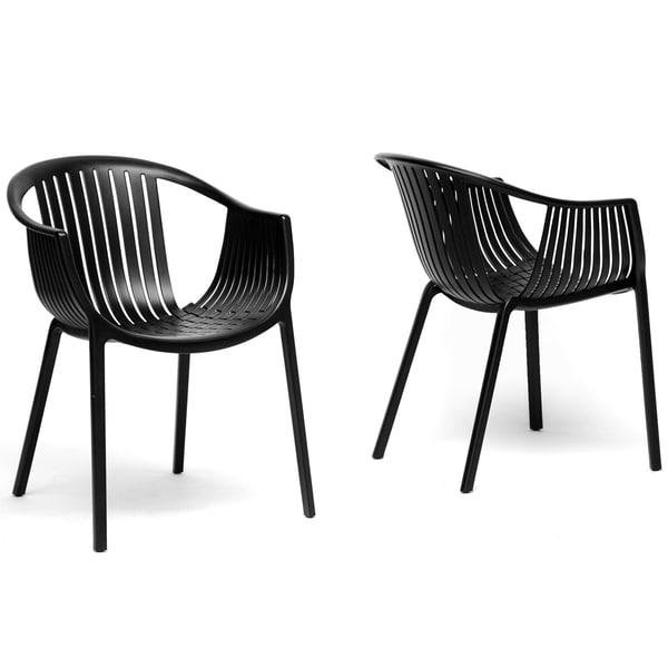 Grafton Black Plastic Stackable Modern Dining Chairs (Set of 2)