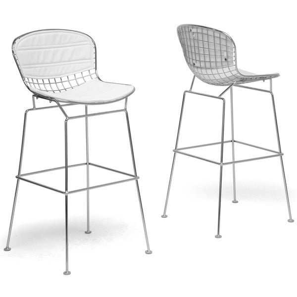 Modern White Metal Bar Stool by Baxton Studio