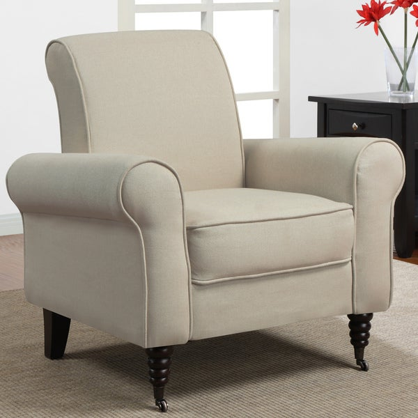 Rolled Accent Natural Linen Arm Chair