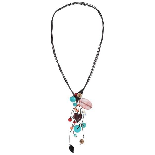 Cluster Multistone Rain Cotton Rope Necklace (Thailand)