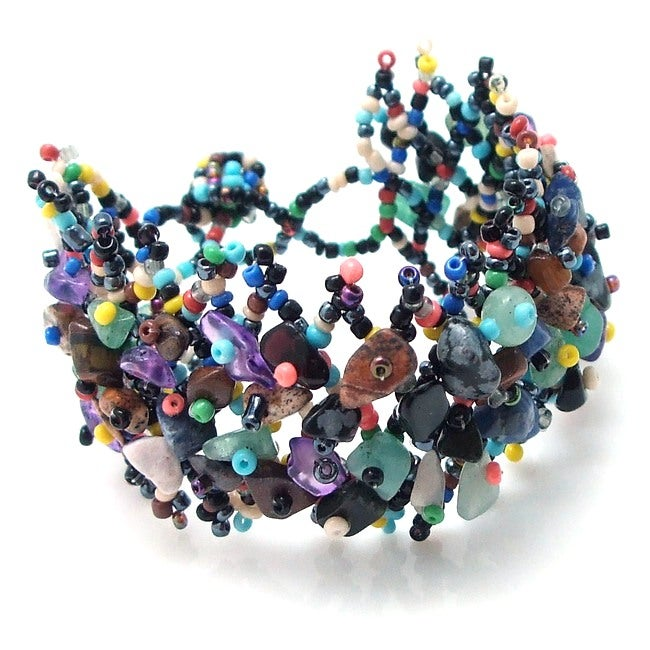 Festive Mesh Charm Multi Stone Beaded Bracelet (Philippines)