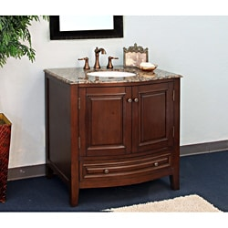 Single Baltic Brown Marble Top Sink Wood Vanity