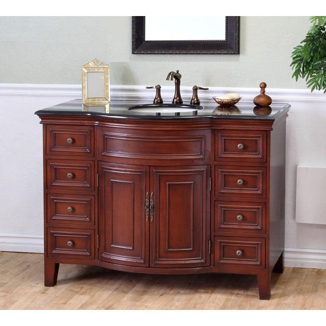 Shop Single Sink Wood Vanity With Black Granite Top Free
