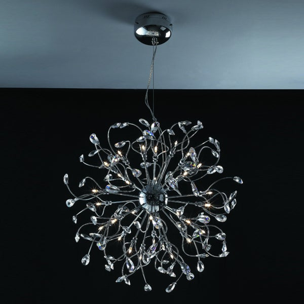Joshua Marshal Home Collection Modern 32-light Chrome Crystal Encompassed Adjustable Hanging Pendant