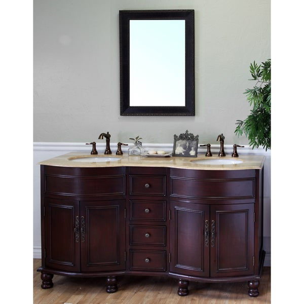 Double Sink Travertine Top Wood Vanity