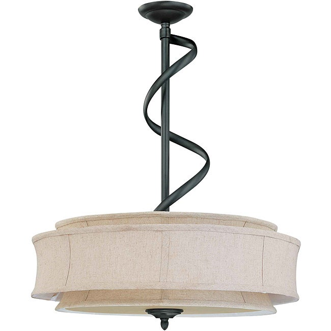 Darwin Bronze and Natural Linen 3-Light Pendant