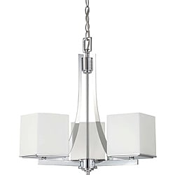 Bento Chrome with Satin White 3-light Chandelier