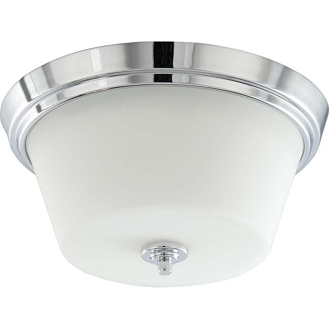 Bento Chrome with Satin White 2-light Semi-flush Fixture