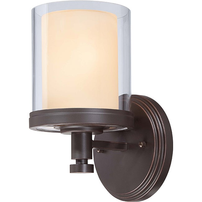 Decker Bronze with Clear/ Cream 1-light Vanity Fixture