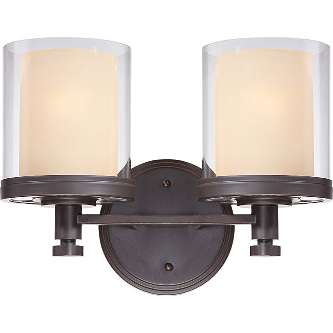 Decker Bronze with Clear/ Cream 2-light Vanity Fixture