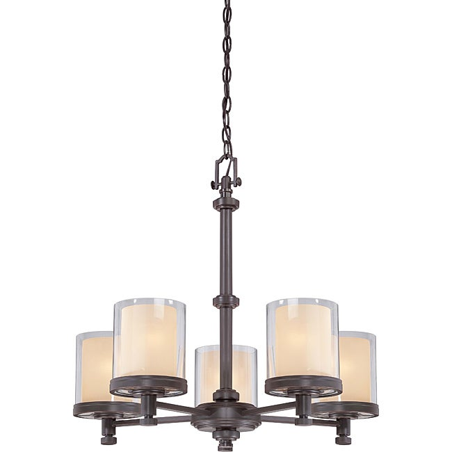 Decker Bronze with Clear/ Cream 5-light Chandelier - Thumbnail 0