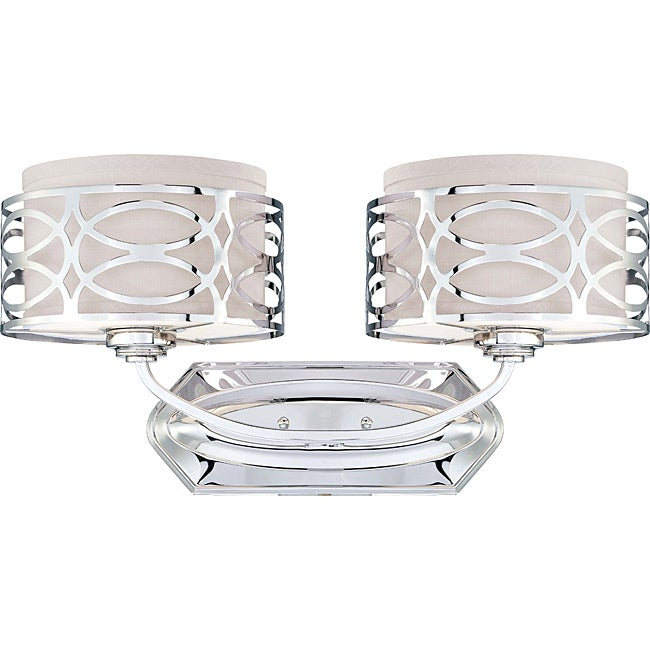 Harlow Nickel with Slate Grey Fabric Shade 2-light Vanity Fixture