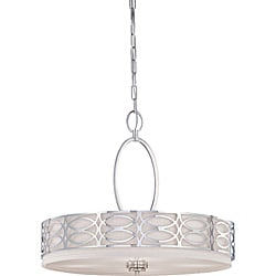 Harlow Nickel and Slate Gray Fabric Shade 4-Light Pendant