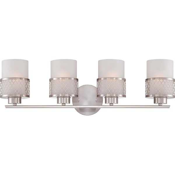 4 light vanity led bath bar fusion nickel and frosted glass 4light vanity fixture shop free