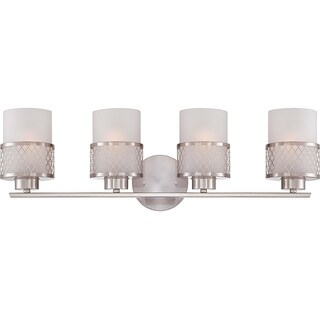 Fusion Nickel and Frosted Glass 4-Light Vanity Fixture