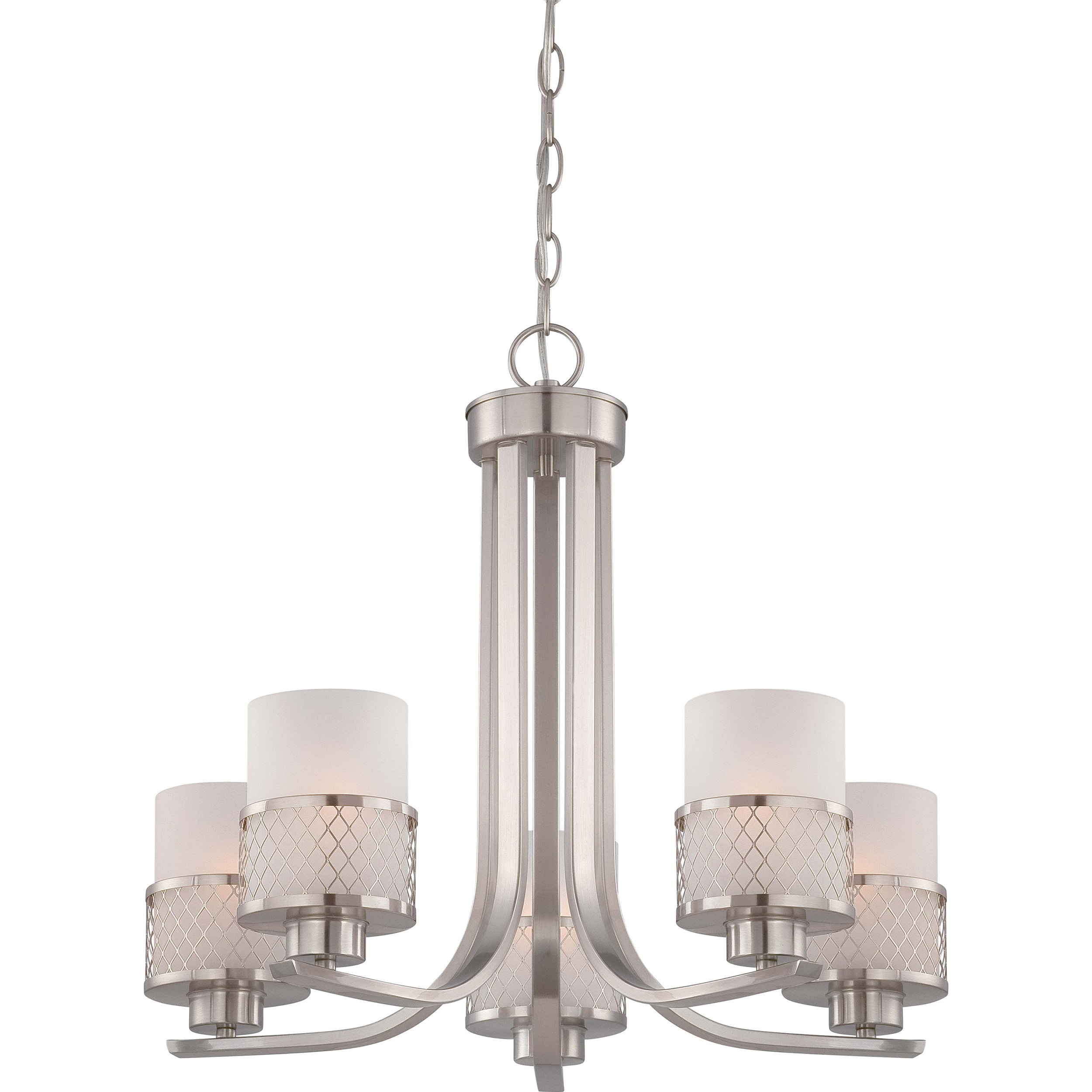 Fusion Nickel and Frosted Glass 5 Light Chandelier Free Shipping