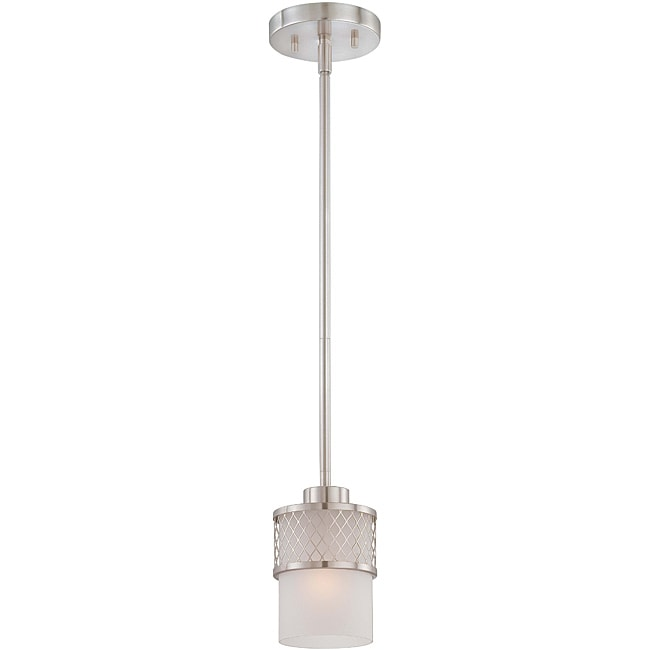 Fusion Nickel And Frosted Glass 1-Light Mini Pendant
