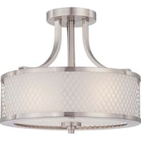 Nuvo Lighting Fusion Nickel/Frosted Glass 3-light Semi Flush Fixture