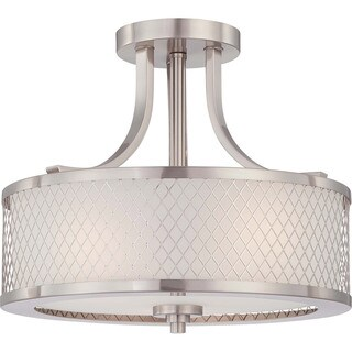 Fusion Nickel and Frosted Glass 3-Light Semi Flush Fixture